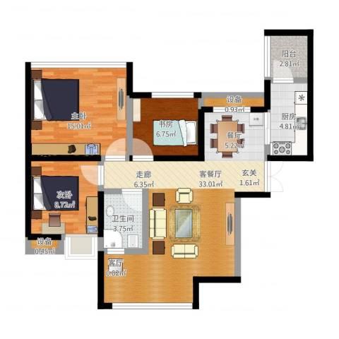 金辉悦府3室1厅1卫1厨112.00㎡户型图