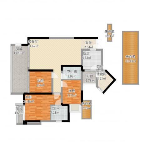 三利宅院领事公馆3室1厅2卫1厨130.73㎡户型图