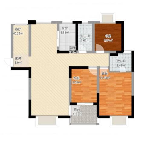 山水湖滨花园二期3室1厅3卫1厨122.00㎡户型图
