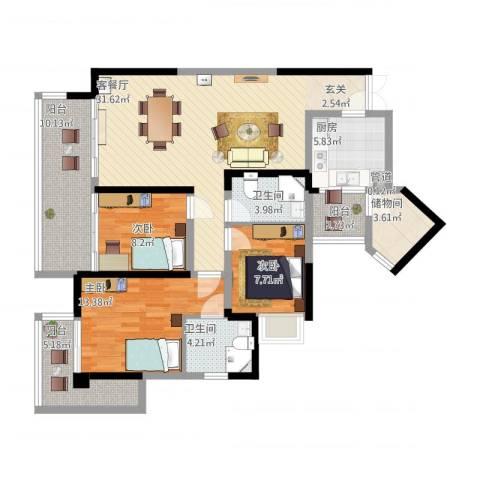 三利宅院领事公馆3室1厅2卫1厨113.58㎡户型图