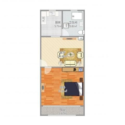 芳华路580弄小区1室1厅1卫1厨64.00㎡户型图