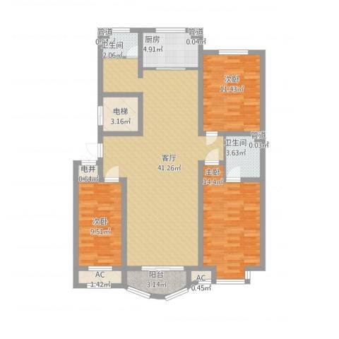 海景怡园3室1厅2卫1厨140.00㎡户型图