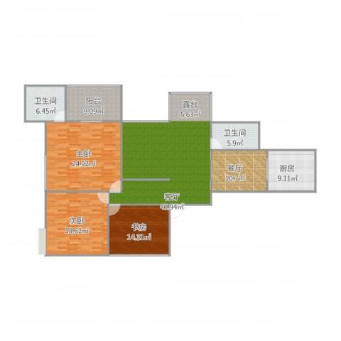嘉筑北京3室2厅2卫1厨186.00㎡户型图
