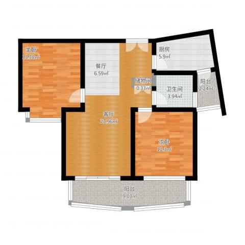 建邦16区2室1厅1卫1厨109.00㎡户型图