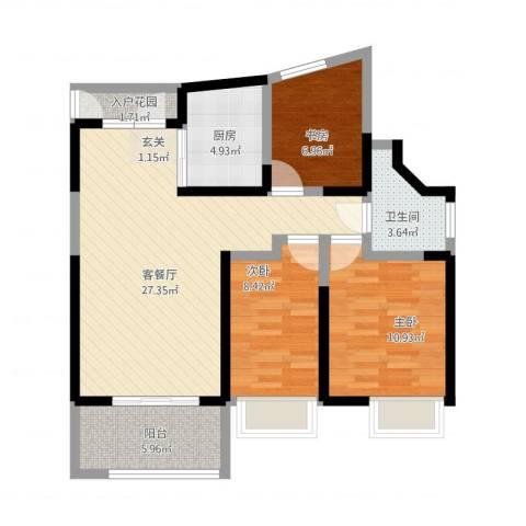 万科公园大道3室1厅1卫1厨103.00㎡户型图