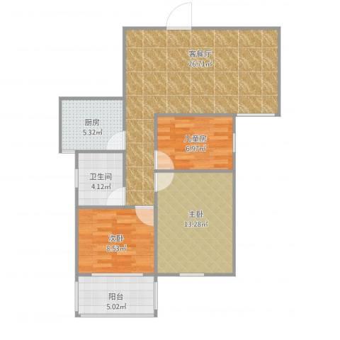 景城名郡3室1厅1卫1厨94.00㎡户型图