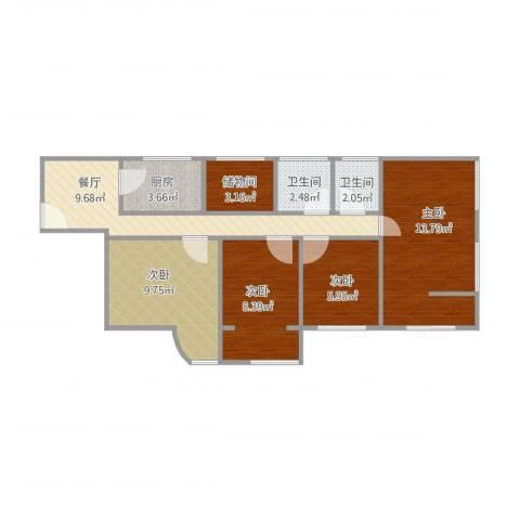 加州花园4室1厅2卫1厨82.00㎡户型图