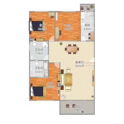 阳鸿新城3室1厅2卫1厨179.00㎡户型图