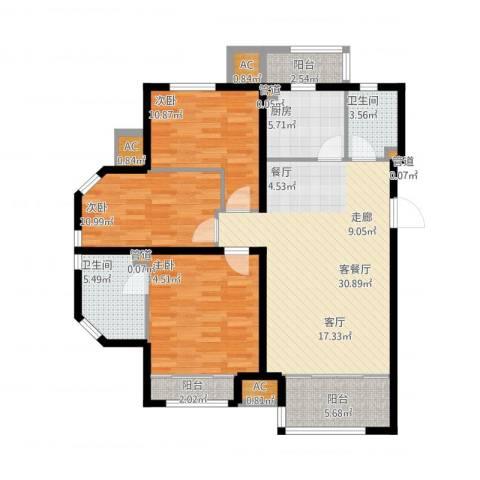 尚湖名筑3室1厅2卫1厨136.00㎡户型图