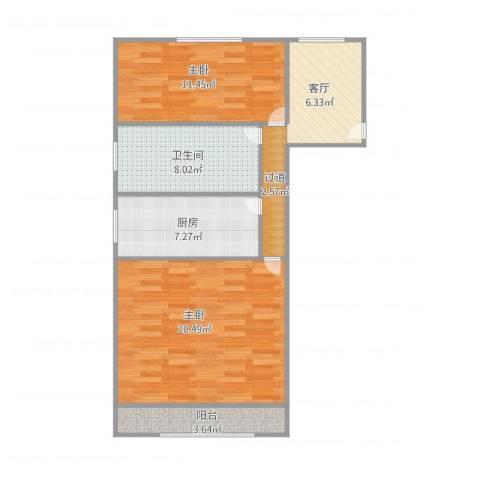 书香苑36.6032室1厅1卫1厨81.00㎡户型图