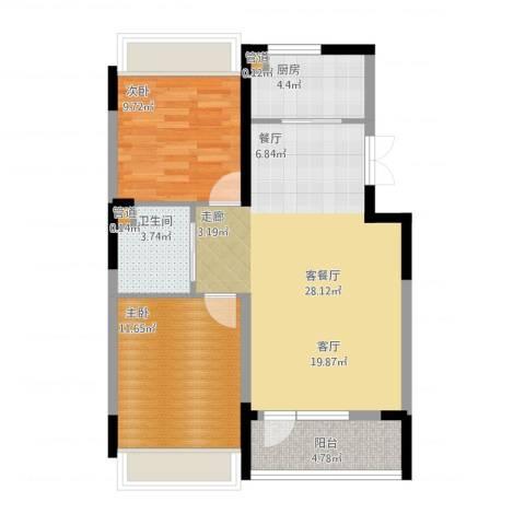 抚顺澳海澜庭2室1厅1卫1厨89.00㎡户型图