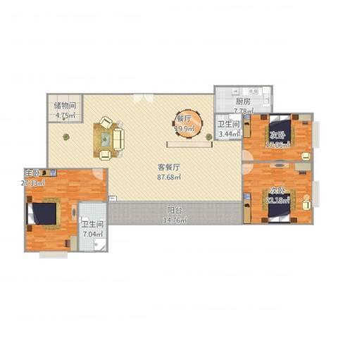 国信世纪海景1-19013室1厅2卫1厨252.00㎡户型图