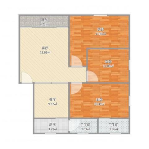 德意楼3室2厅2卫1厨125.00㎡户型图