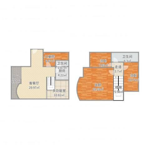 华都豪庭4室1厅2卫1厨165.00㎡户型图
