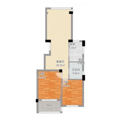 江南一品2室1厅1卫1厨97.00㎡户型图