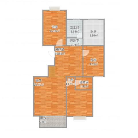 水木华园3室2厅1卫1厨146.00㎡户型图