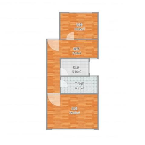 南泉苑2室1厅1卫1厨78.00㎡户型图