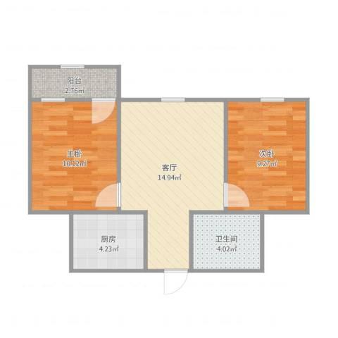 南沙佳苑3332室1厅1卫1厨62.00㎡户型图