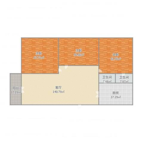 尚景苑3室1厅2卫1厨512.00㎡户型图