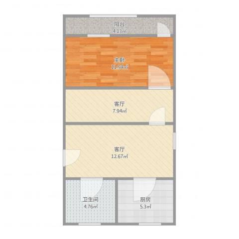 古北新城酩悦1661室2厅1卫1厨64.00㎡户型图