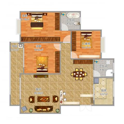 长沙市先锋新宇小区3室1厅2卫1厨149.00㎡户型图