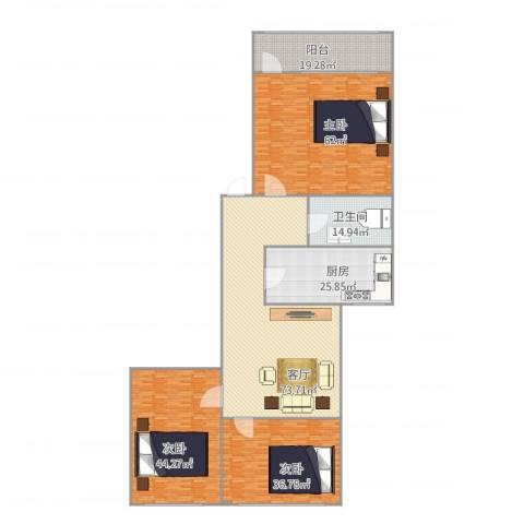 青后小区3室1厅1卫1厨360.00㎡户型图