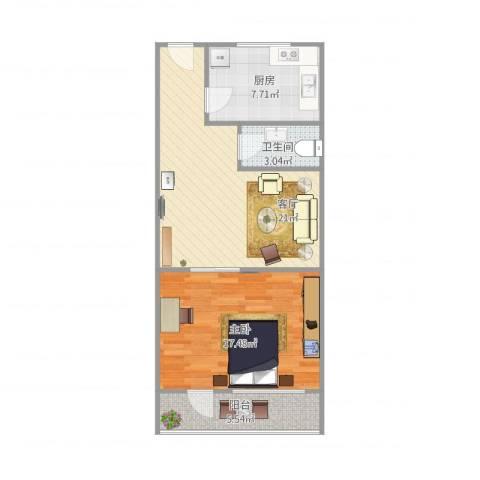 长盛小区1室1厅1卫1厨74.00㎡户型图