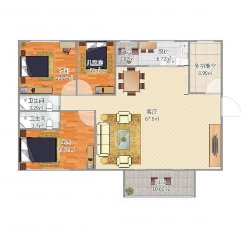云山熹景3室1厅2卫1厨201.00㎡户型图