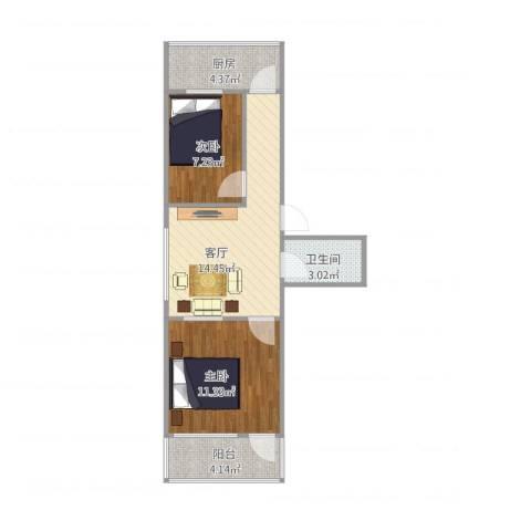 东宇花园2室1厅1卫1厨61.00㎡户型图