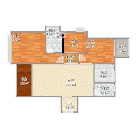 白云花园4室1厅2卫1厨110.00㎡户型图