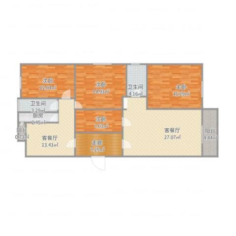 兴业新村4室2厅2卫1厨153.00㎡户型图