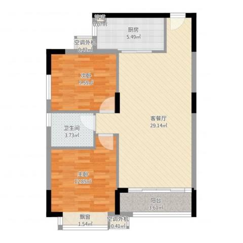 名品建筑2室1厅1卫1厨92.00㎡户型图