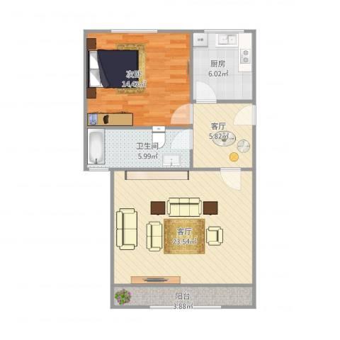 培育苑1室2厅1卫1厨64.39㎡户型图