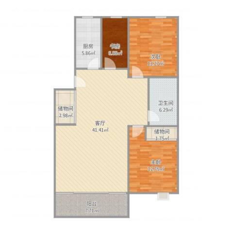 恒龙尚品嘉苑33室1厅1卫1厨132.00㎡户型图