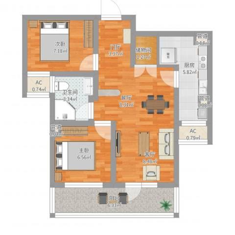 季景华庭2室1厅6卫1厨83.00㎡户型图