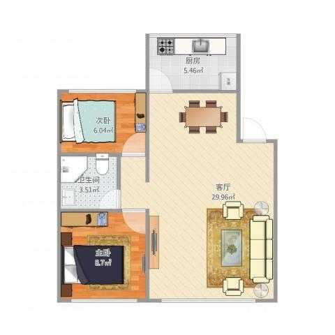 城北小区B12室1厅1卫1厨72.00㎡户型图