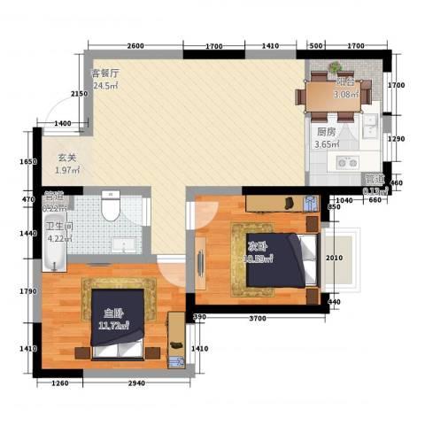 鼎新花园2室1厅3卫1厨85.00㎡户型图