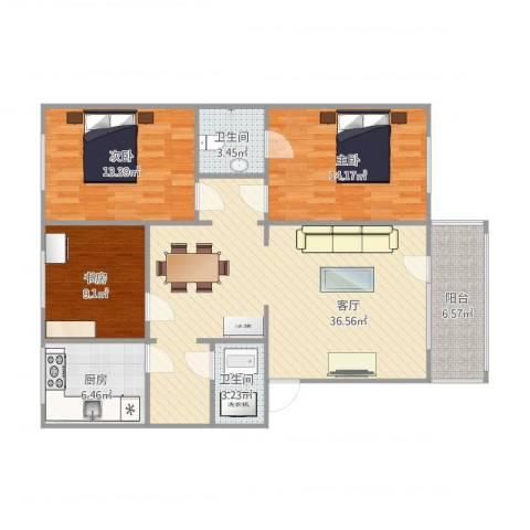 国际大都会3室1厅2卫1厨125.00㎡户型图