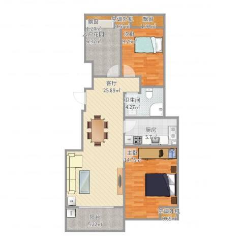 福德庄园88平米2室1厅1卫1厨103.00㎡户型图