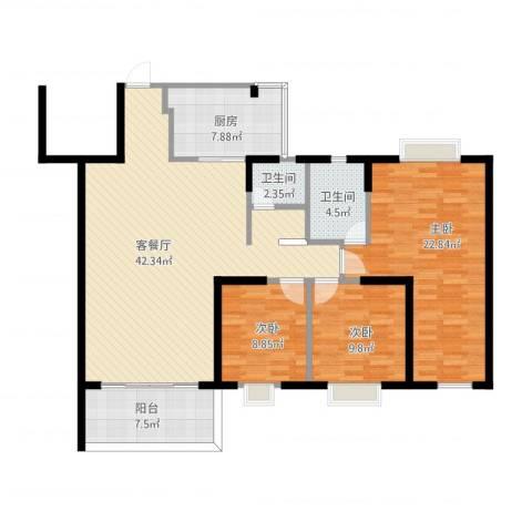 锦绣柠溪3室1厅2卫1厨149.00㎡户型图