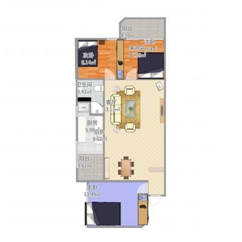 泽德花园1室1厅1卫1厨109.00㎡户型图