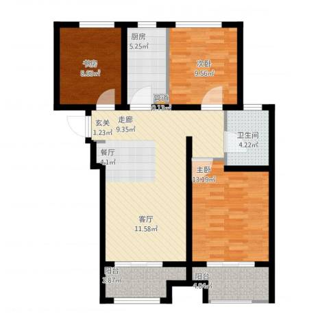 高科绿水东城3室1厅2卫1厨109.00㎡户型图