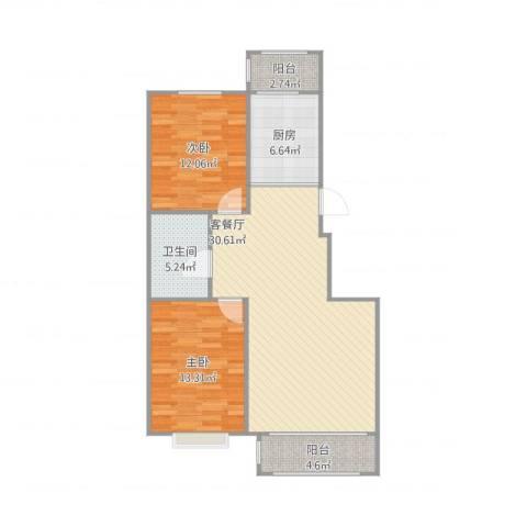 漫步巴黎2室1厅1卫1厨101.00㎡户型图