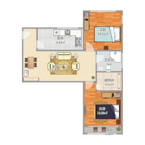 甘泉公寓2室1厅1卫1厨100.00㎡户型图