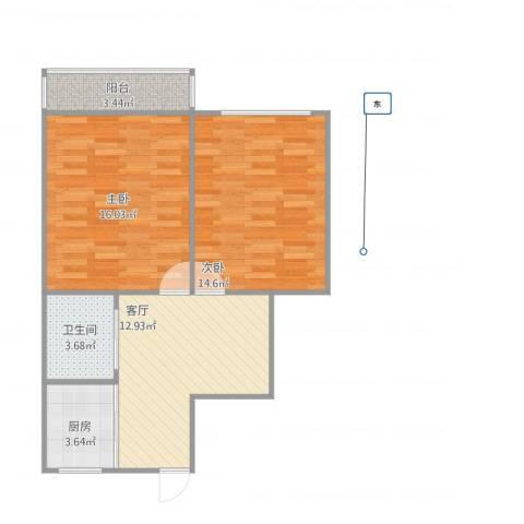 福建路小区2室1厅1卫1厨73.00㎡户型图