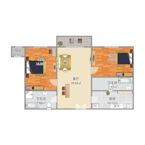 多伦多(民达大厦)2室1厅2卫1厨103.91㎡户型图
