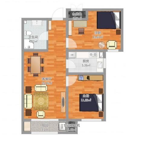 中铁国际城2室1厅1卫1厨93.00㎡户型图