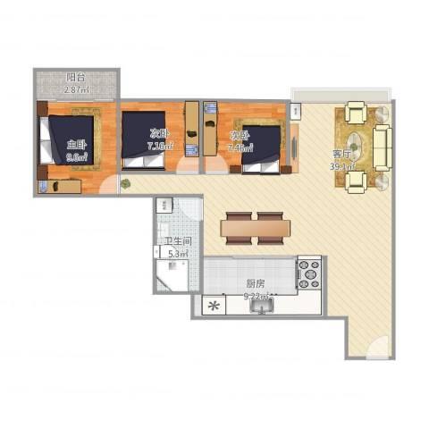 金达苑2053室1厅1卫1厨109.00㎡户型图