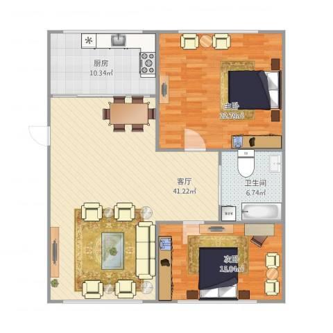 康居小区2室1厅1卫1厨127.00㎡户型图