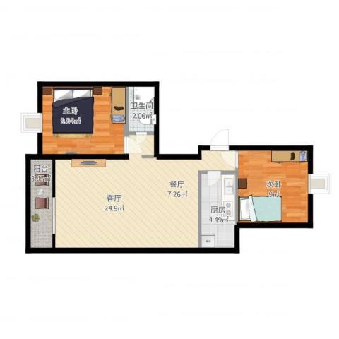 和义西里小区2室1厅1卫1厨76.00㎡户型图